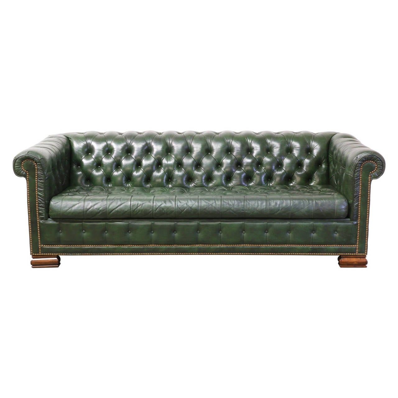 vintage green leather chesterfield sofa bed at 1stdibs