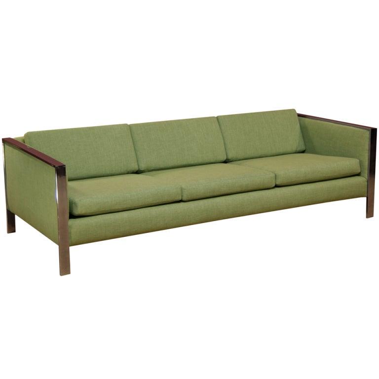 Vintage Chrome Sofa by Milo Baughman 1