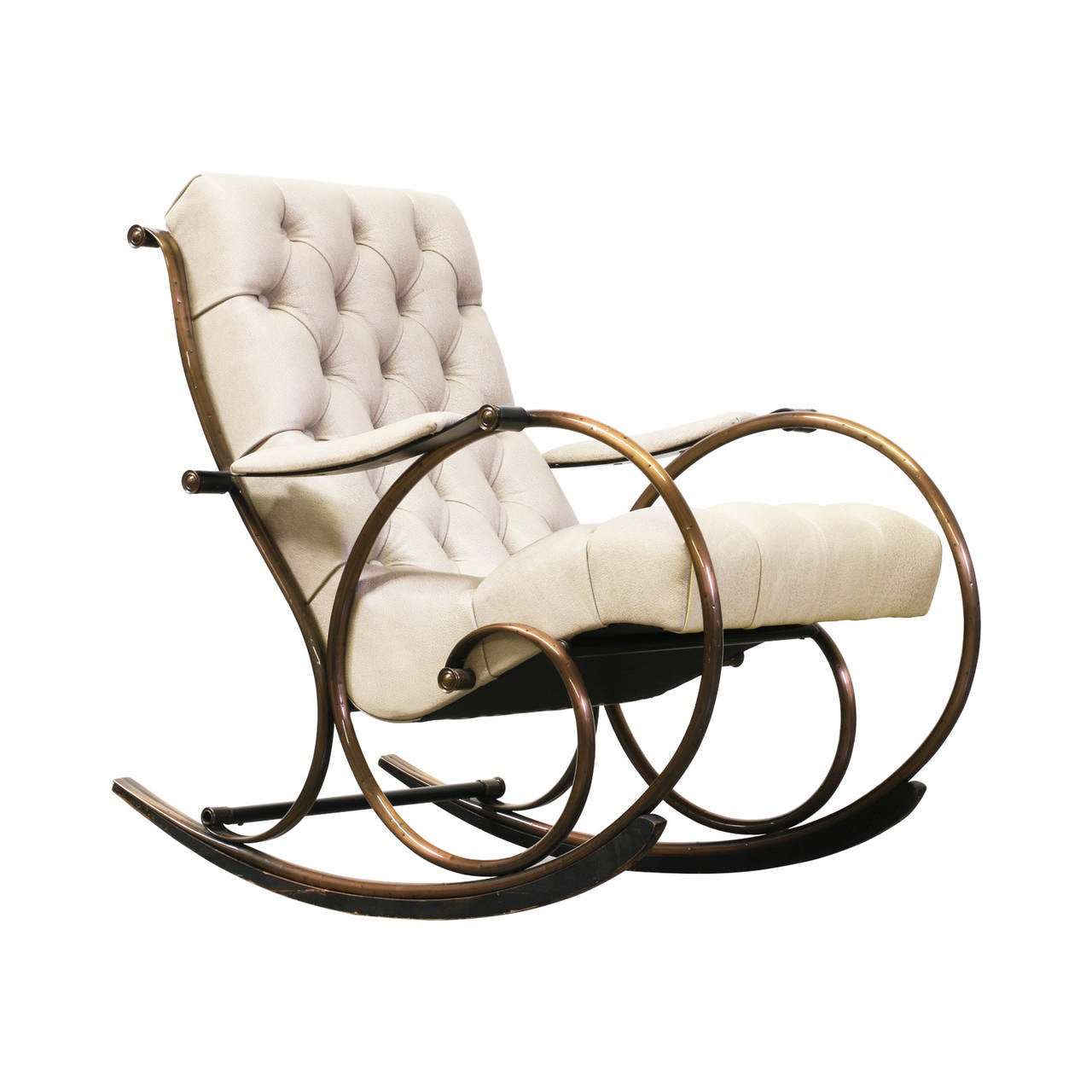 Lee L. Woodard Tufted Leather And Brass Rocking Chair At 1stdibs. Full resolution  pic, nominally Width 1280 Height 1280 pixels, pic with #936938.