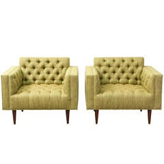Mid Century Tufted Club Chairs