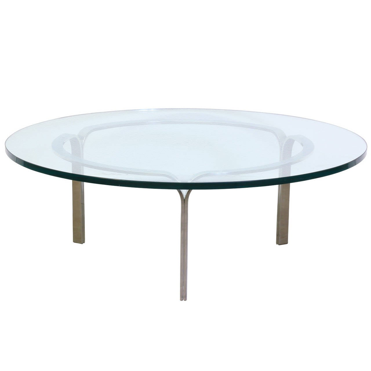 Nicos Zographos Ribbon Steel Coffee Table With Glass Top For Sale At 1stdibs