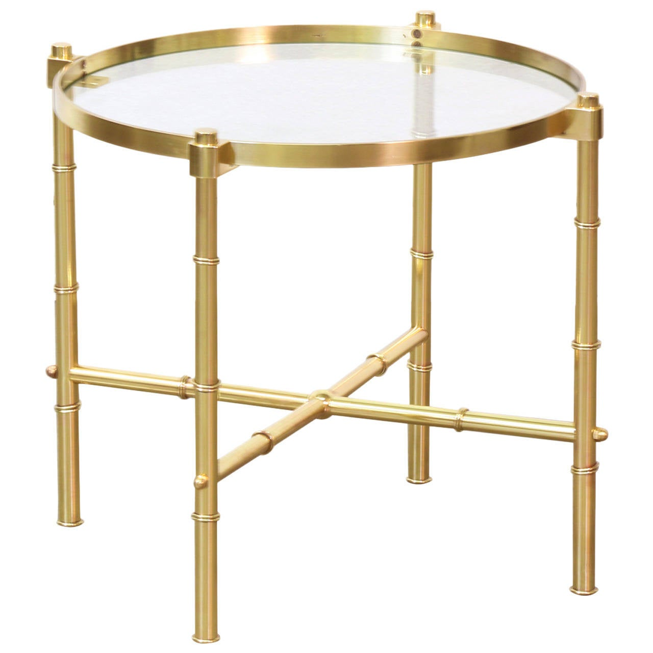 Italian brass faux bamboo side table with glass top at 1stdibs for Bamboo side table