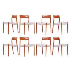 J.L. Møller Model #77 Teak Dining Chairs by Niels Møller