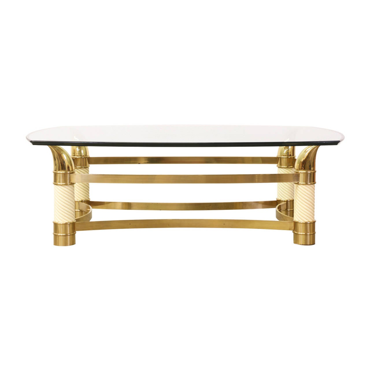 Vintage Italian Brass Horn Coffee Table With Glass Top At 1stdibs