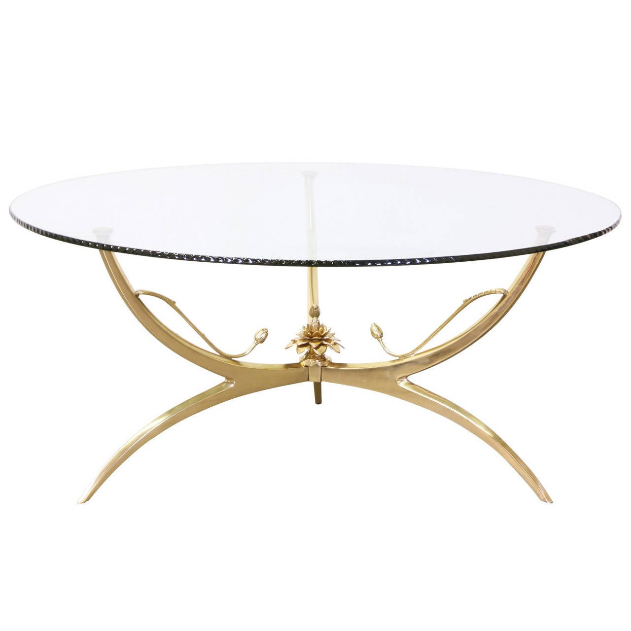 Italian Brass Lotus Coffee Table With Glass Top At 1stdibs