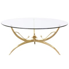 Italian Brass Lotus Coffee Table with Glass Top