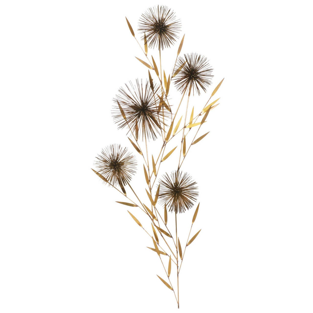 Dandelion Metal Wall Decor : Curtis jere dandelion brass wall sculpture for sale at stdibs