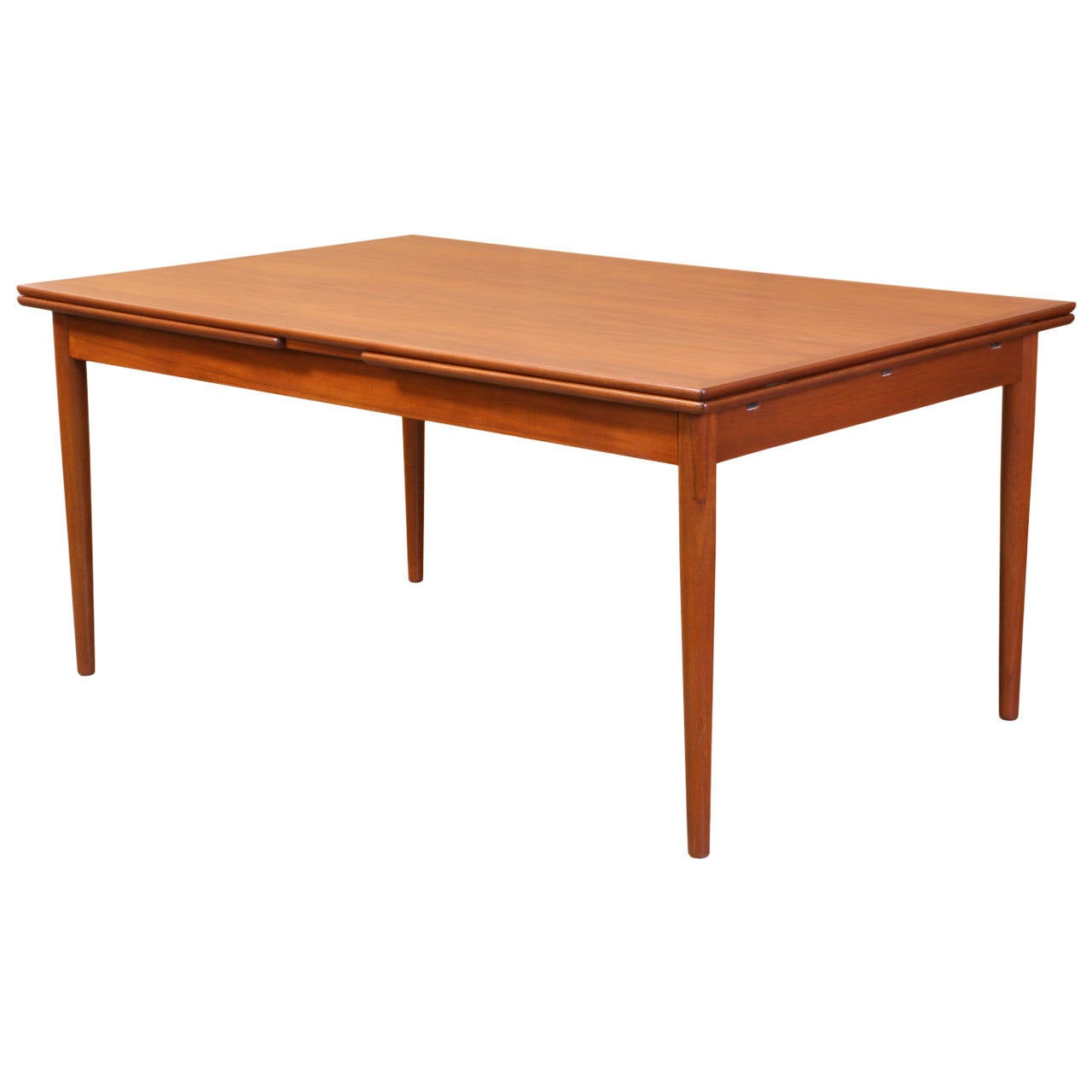 Danish modern teak draw leaf dining table at 1stdibs for Danish modern dining room table