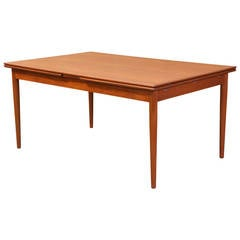 Danish Modern Teak Draw-Leaf Dining Table