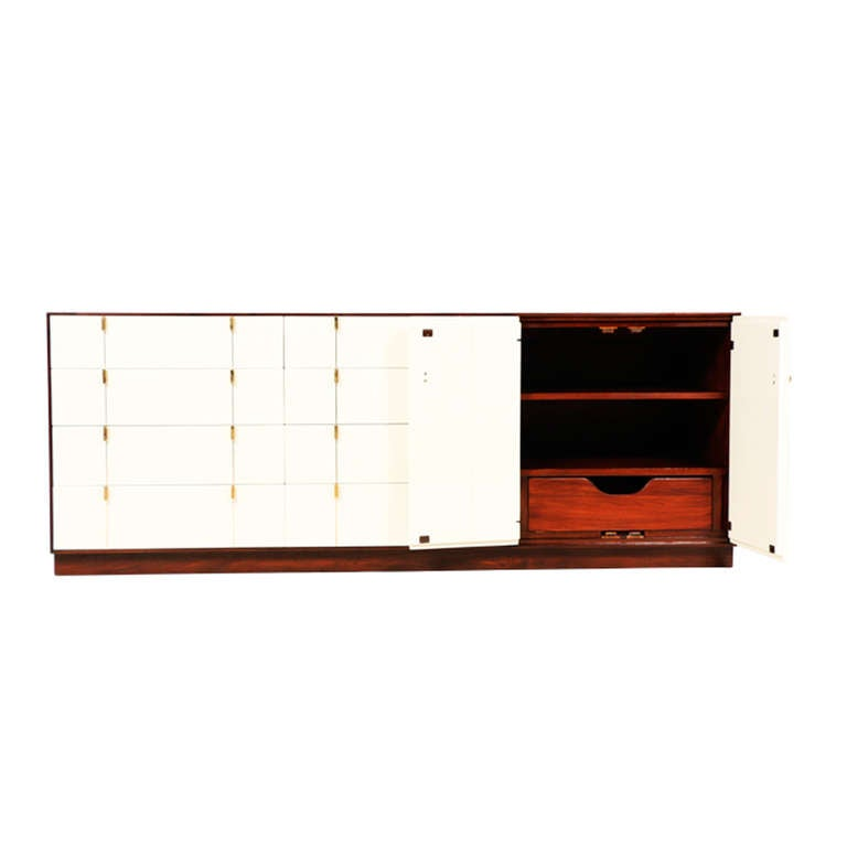 Midcentury Two Tone Lacquer and Walnut Dresser 2