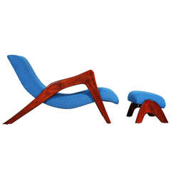 Adrian Pearsall Grasshopper Chaise Longue with Ottoman for Craft Associates
