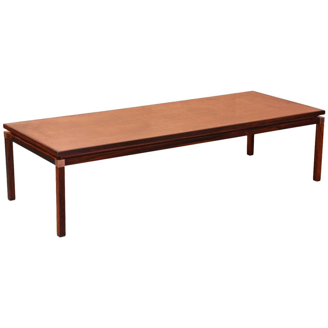Midcentury Rosewood Coffee Table With Etched Copper Top For Sale At 1stdibs