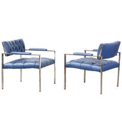 Harvey Probber Chrome Leather Tufted Lounge Chairs