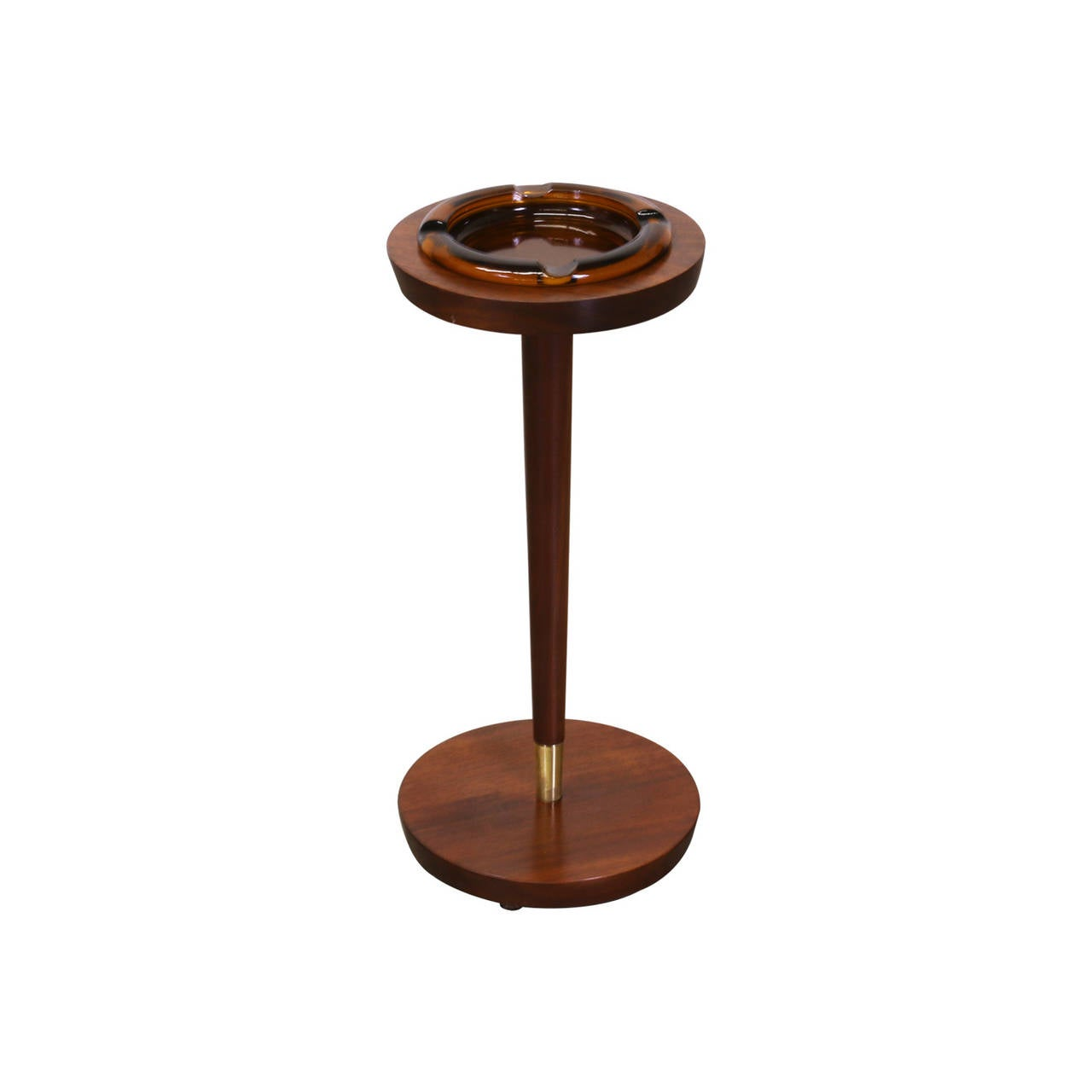 Designer: Unknown Manufacturer: Unknown Period/Style: Mid Century Modern Country: United States Date: 1950's  Dimensions: 22.5″H x 10″D Materials: Walnut, Glass, Brass Condition: Excellent – Newly Refinished Number of Items: 1 ID Number: