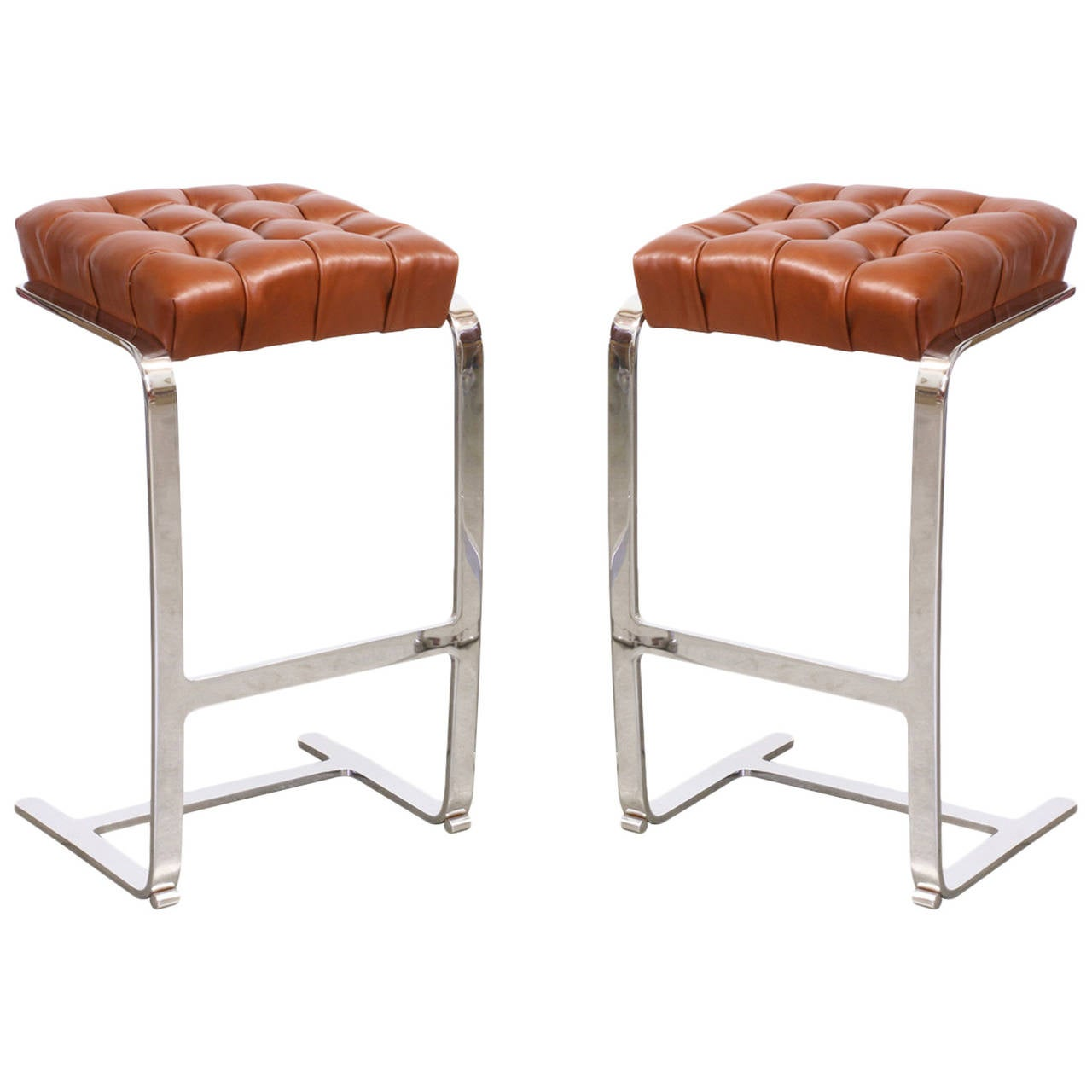 Mies Van Der Rohe Steel and Leather Tufted Bar Stools for  : 2859332l from www.1stdibs.com size 1280 x 1280 jpeg 68kB