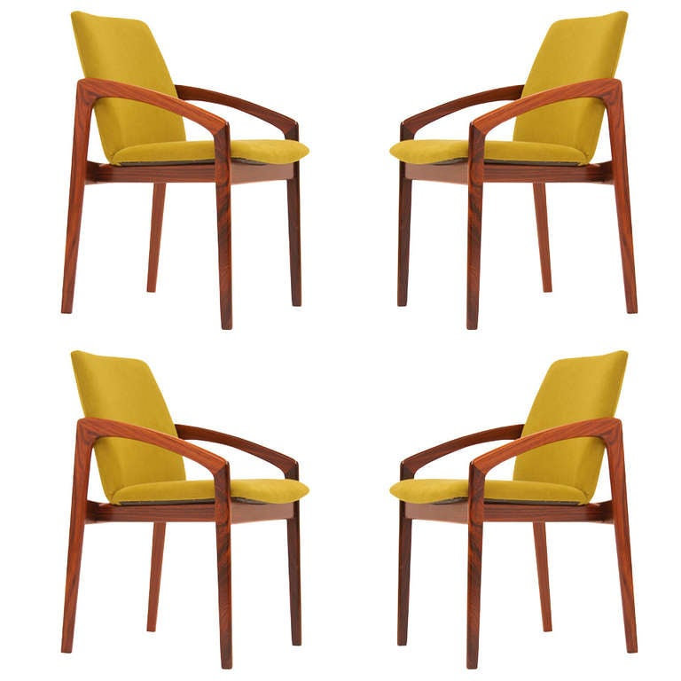 Danish modern rosewood dining chairs by kai kristiansen at 1stdibs - Kai kristiansen chairs ...