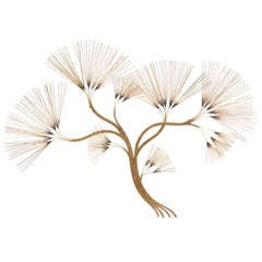 Vintage Brass Tree Wall Sculpture by Curtis Jere