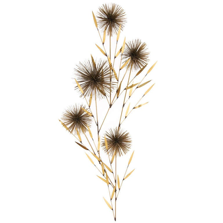 "Vintage Brass ""Dandelion"" Wall Sculpture by Curtis Jere 1"