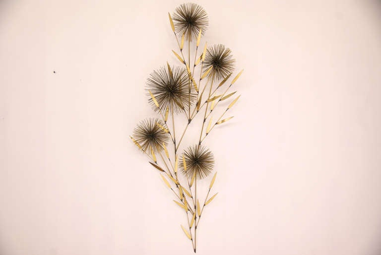 "Vintage Brass ""Dandelion"" Wall Sculpture by Curtis Jere 2"