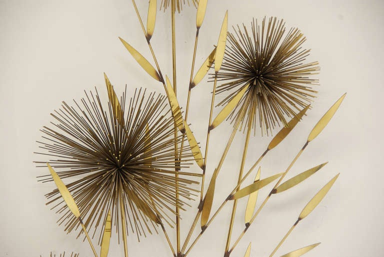 "Vintage Brass ""Dandelion"" Wall Sculpture by Curtis Jere 3"