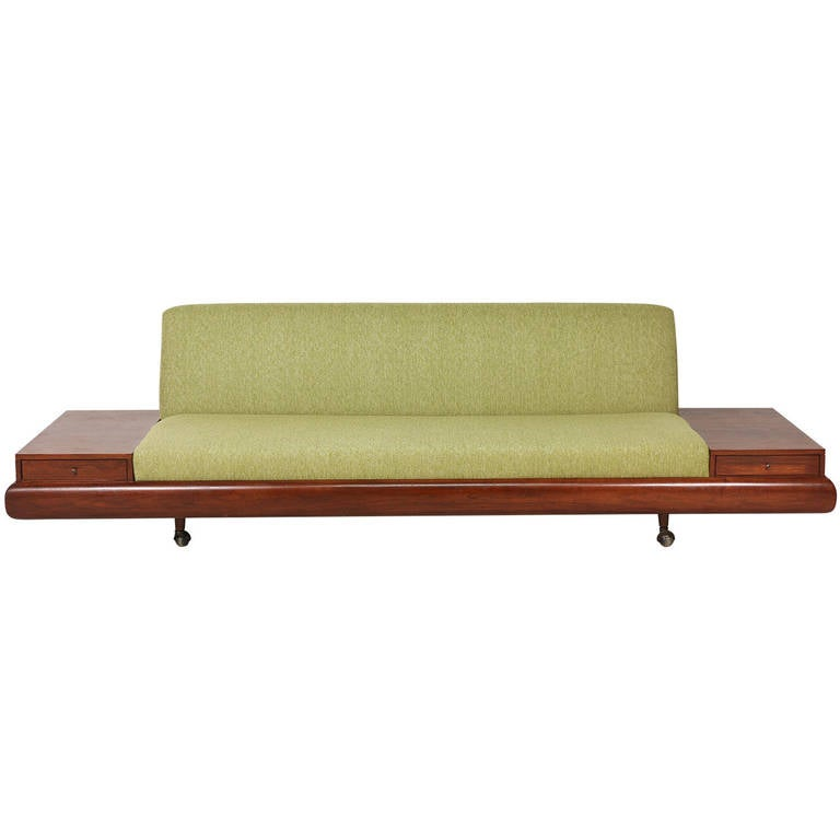 Adrian pearsall platform sofa with side tables for craft Sofa side table