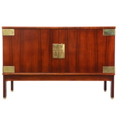 Danish Modern Rosewood Credenza with Brass Accents