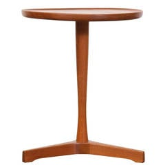 Danish Teak Pedestal Tri-Leg Side Table by Artex