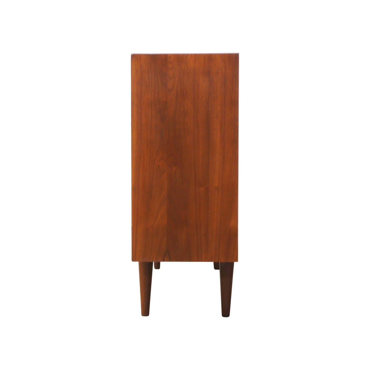 Midcentury Walnut Credenza With Glass Sliding Doors At 1stdibs