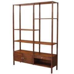 Midcentury Walnut Display Bookshelf Unit