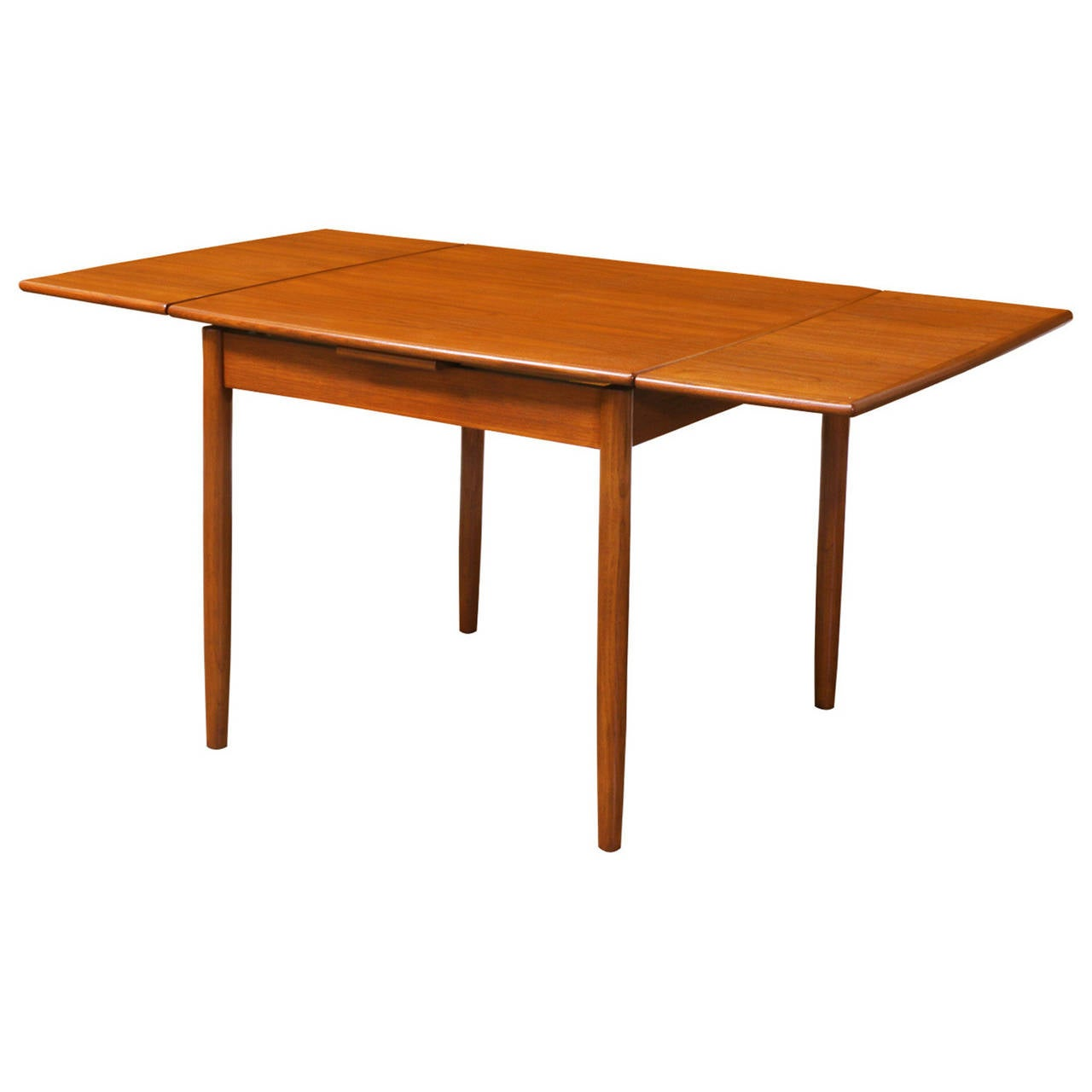 Danish modern teak square draw leaf dining table at 1stdibs - Refinish contemporary dining room tables ...