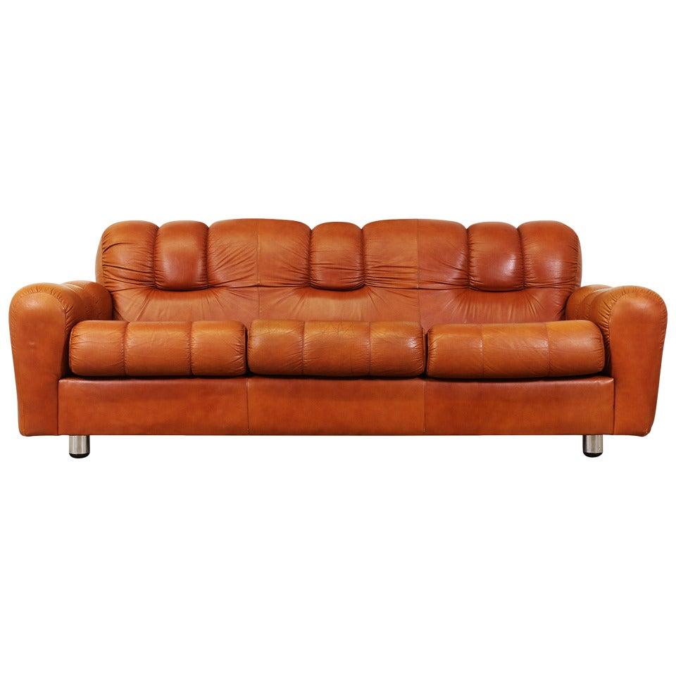 Vintage Tufted Leather Sofa At 1stdibs