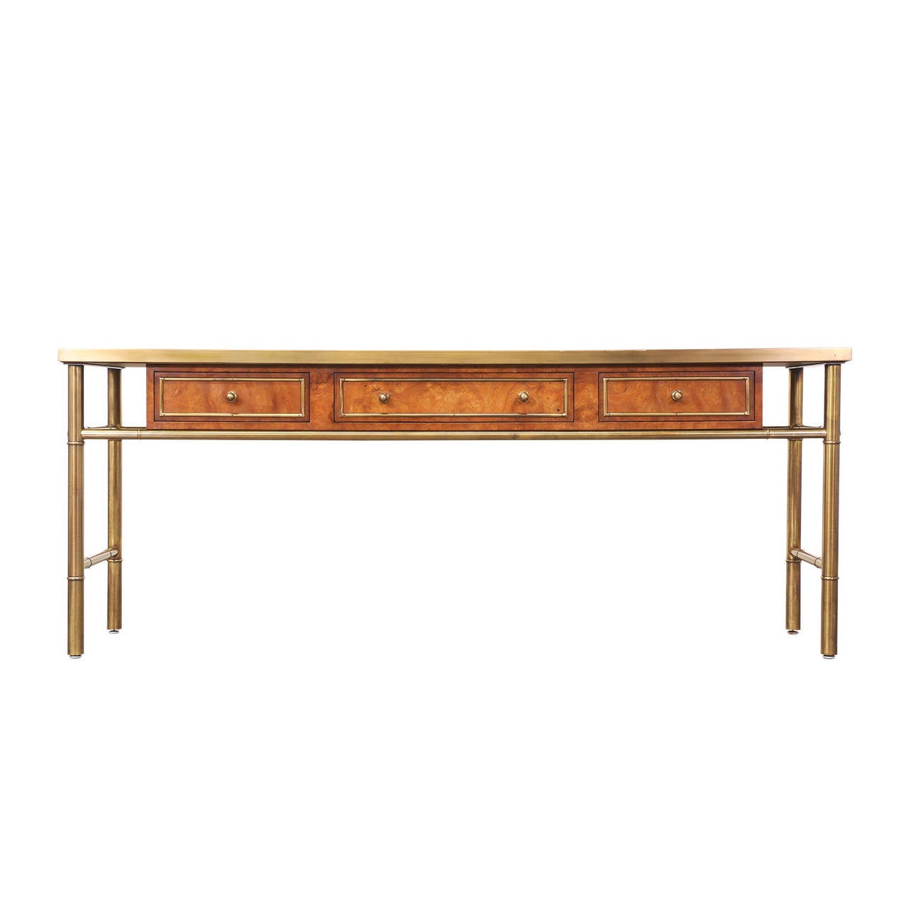 Mastercraft Amboyna Burl Wood & Patinated Brass Console Table w/ Etched Top In Excellent Condition In Los Angeles, CA