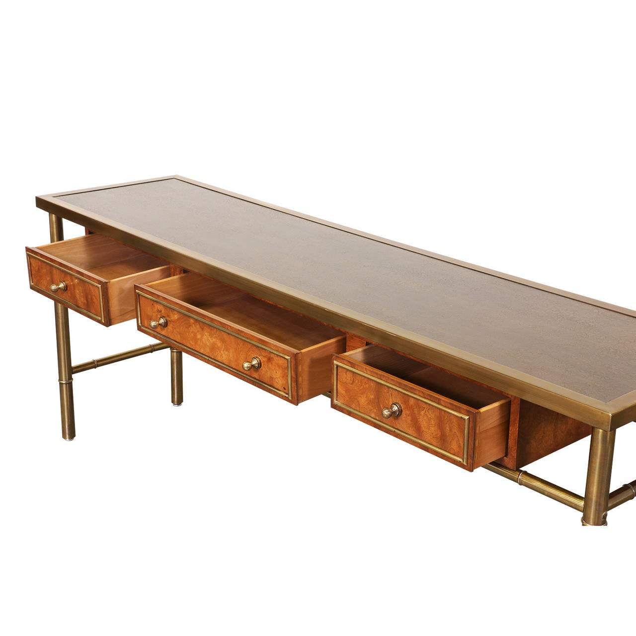 Mastercraft Amboyna Burl Wood & Patinated Brass Console Table w/ Etched Top 1