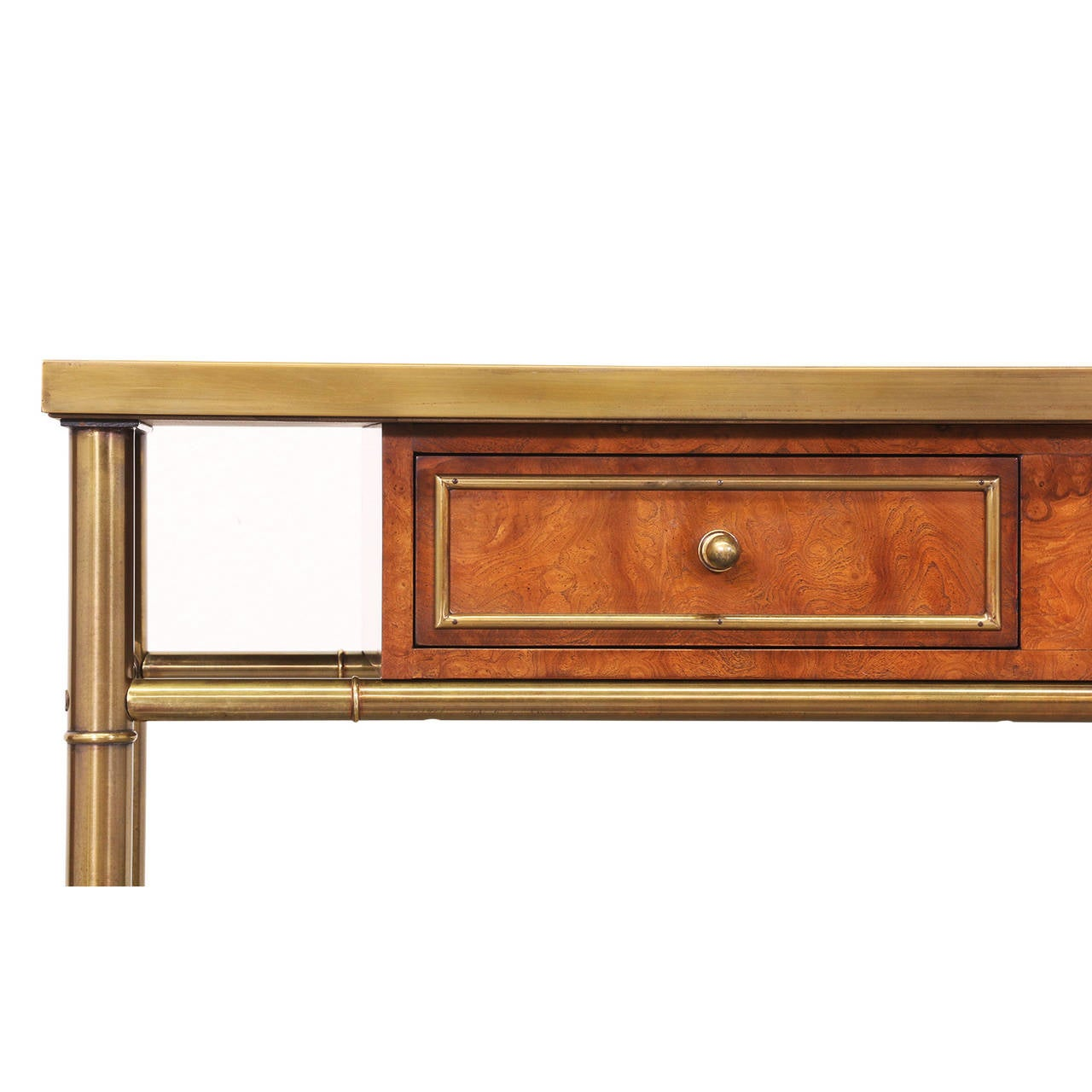 Mastercraft Amboyna Burl Wood & Patinated Brass Console Table w/ Etched Top 3