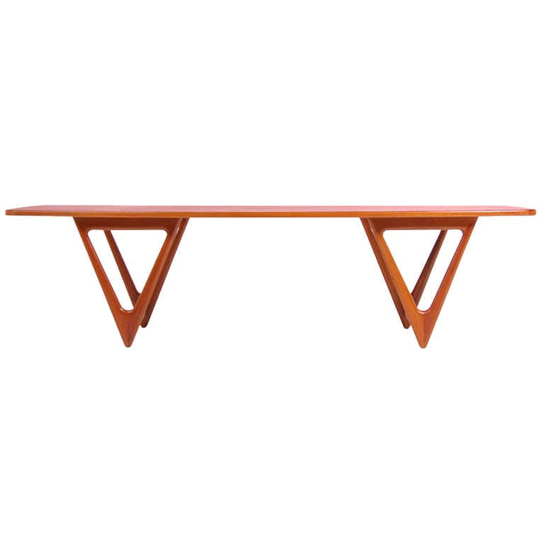 Danish modern teak coffee table by kurt stervig at 1stdibs Modern teak coffee table
