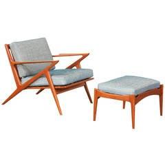 "Poul Thorsbjerg Jensen Teak ""Z"" Chair with Ottoman for Selig"