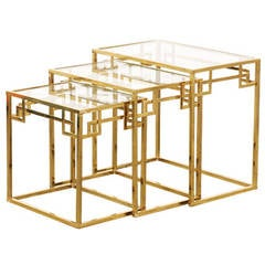 Vintage Italian Brass & Glass Nesting Tables