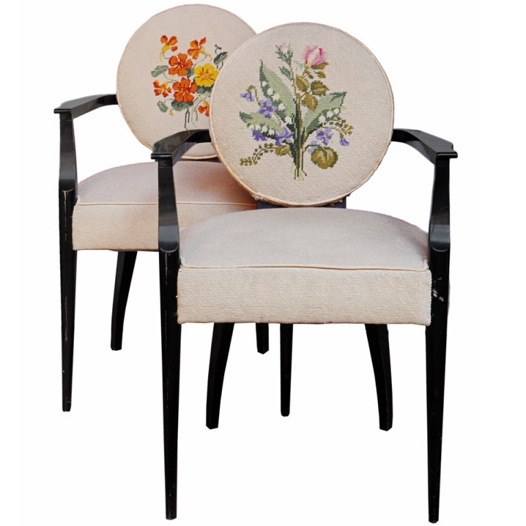 Pair Of French Ebonised Fauteuils By Jean Pascaud At 1stdibs