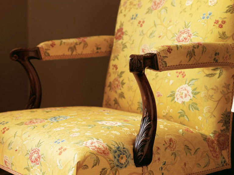Carved George II period carved mahogany open arm chair attributed to Matthias Lock For Sale