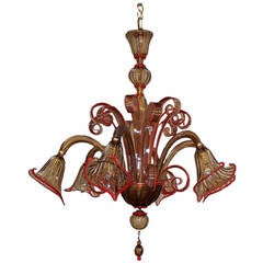 1950s Bronze and Red Trimmed Coloured Glass Venetian Six-Light Chandelier