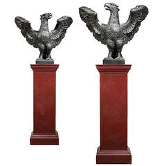 Pair of 18th Century Lead Eagles on Red Painted Pedestals
