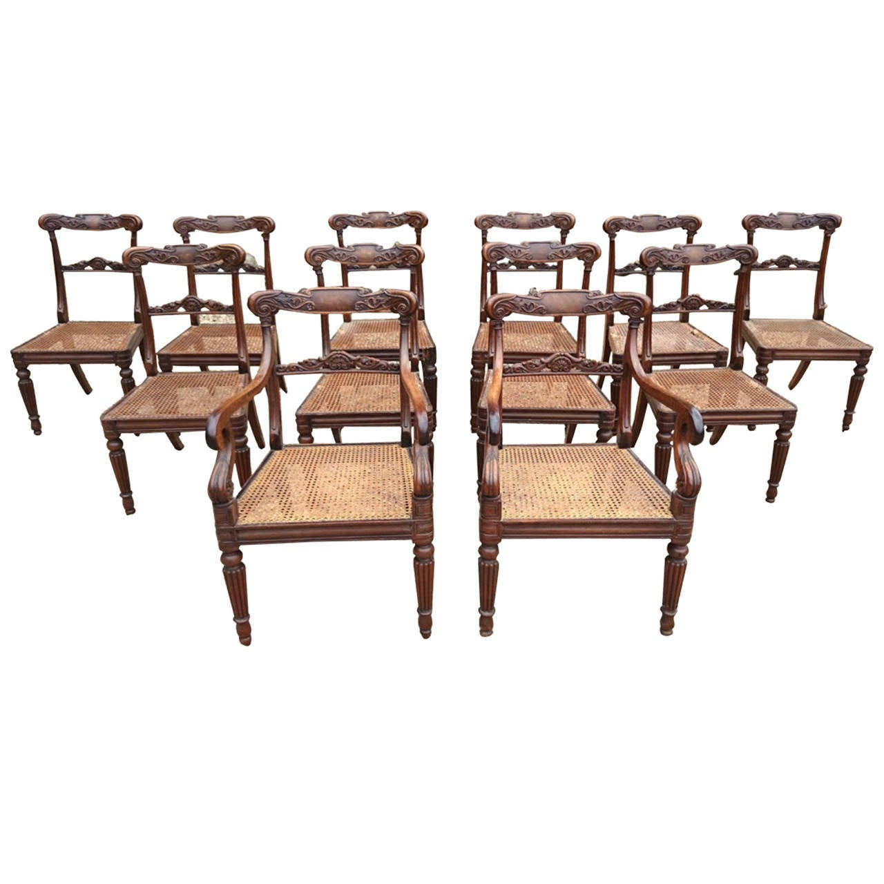 Superb Set Of 12 Regency Period Dining Chairs Attributable To Gillows For Sale At 1stdibs