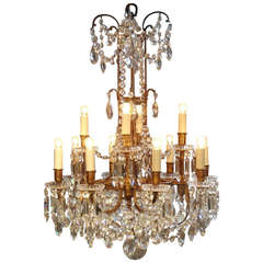 19th Century Baccarat Crystal and Ormolu Twelve Branch Chandelier