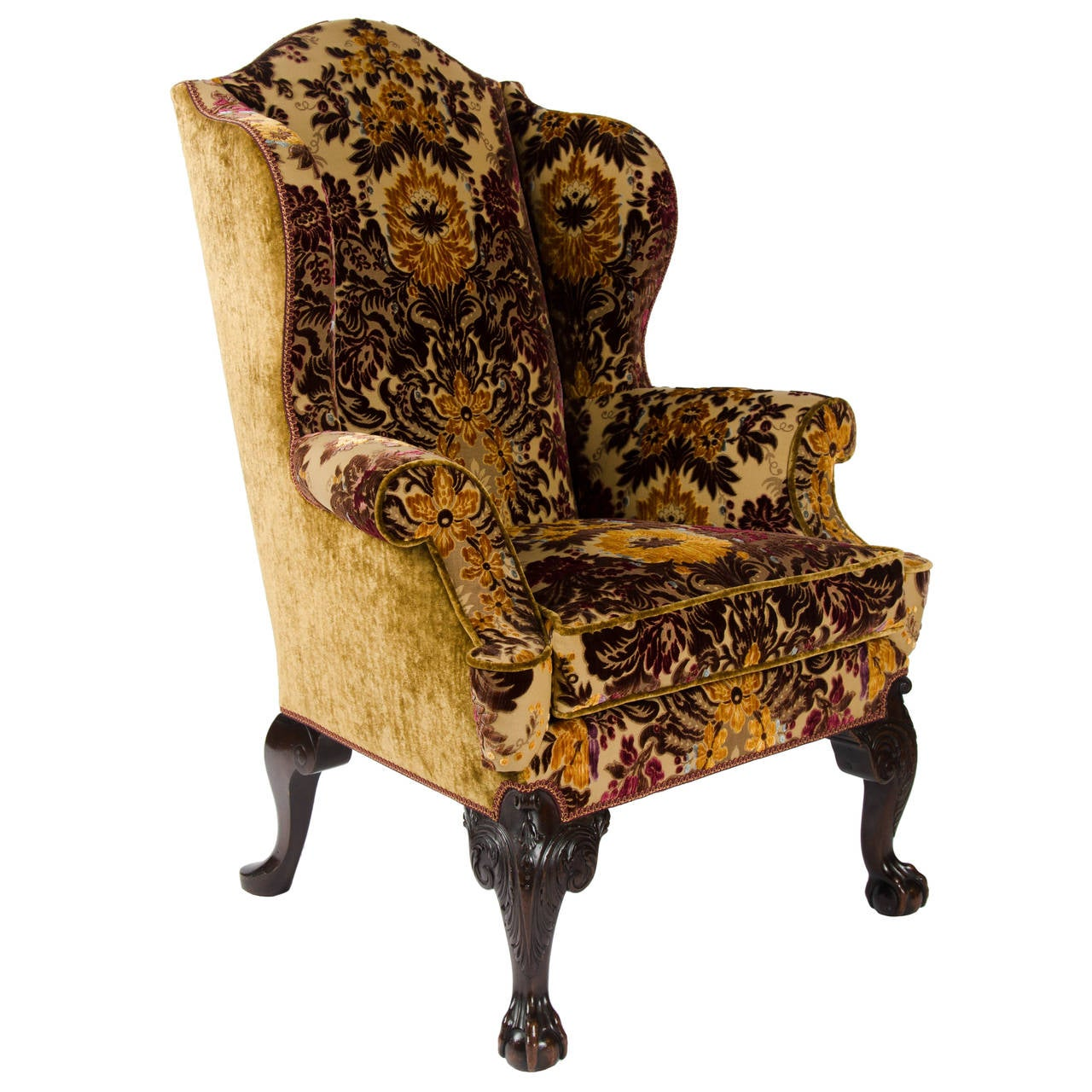 19th Century Mahogany and Beech Wing Chair in the 18th Century Manner