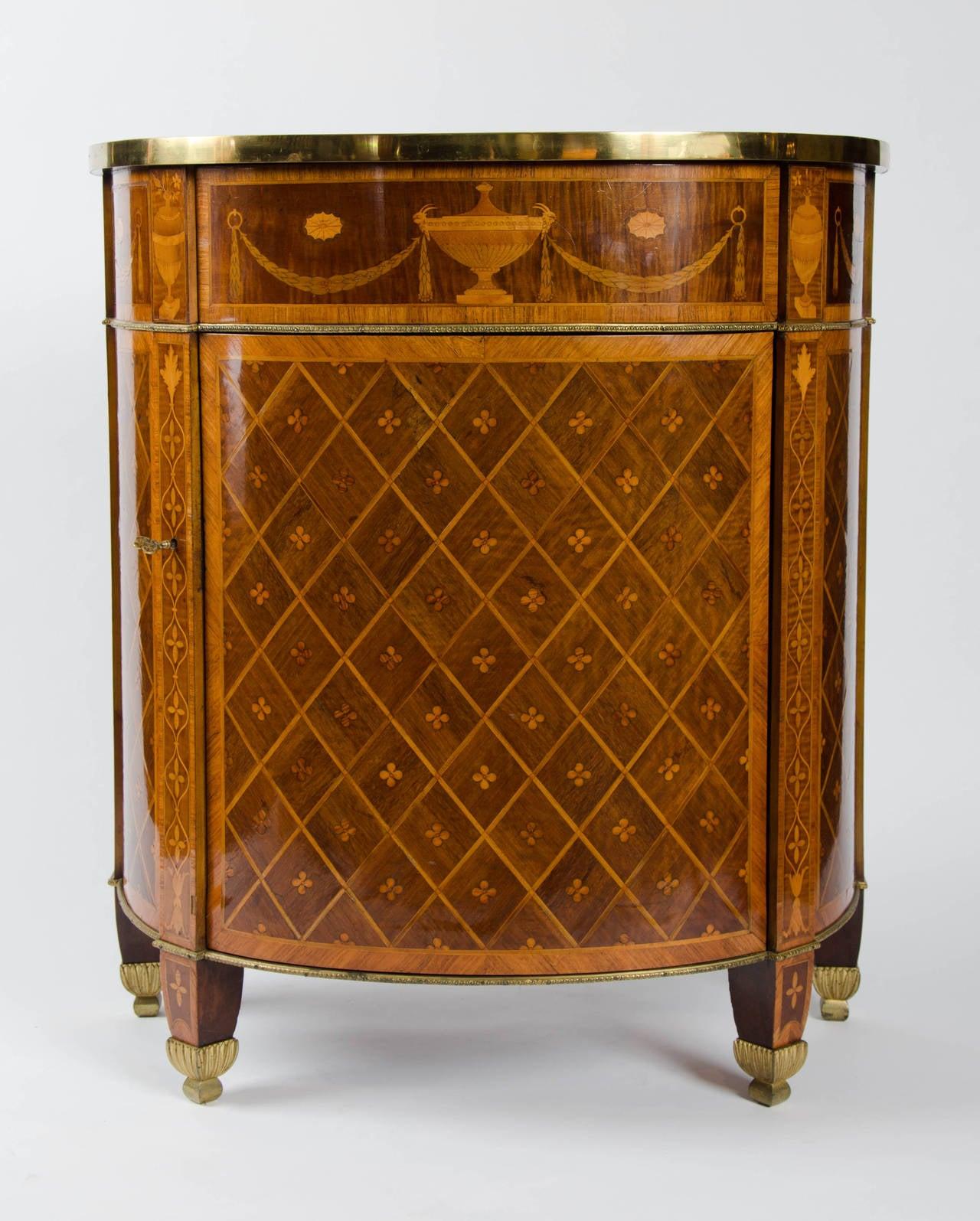 George III 18th Century Georgian Demi-Lune Commode of Satinwood, Tulipwood and Harewood For Sale