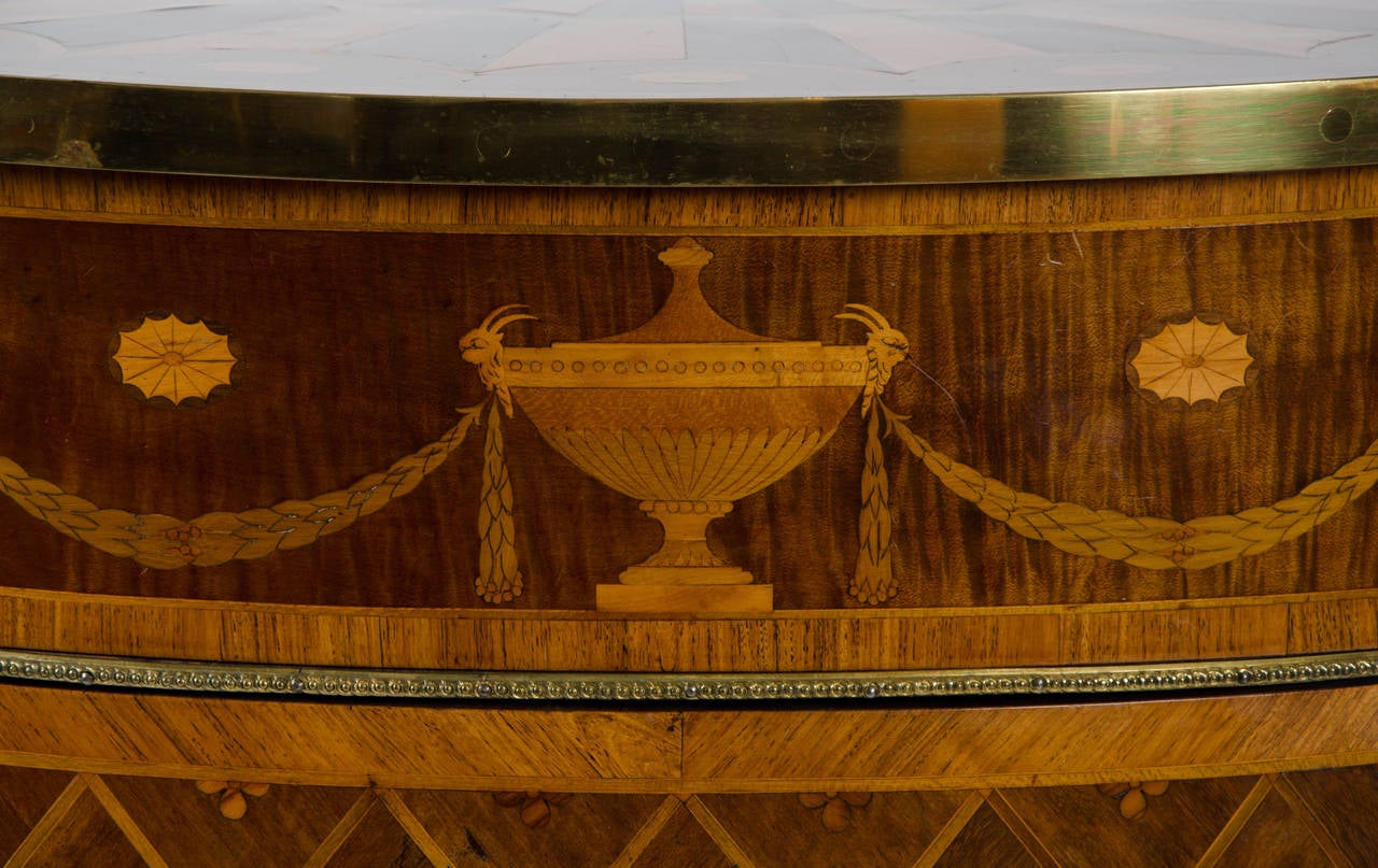 English 18th Century Georgian Demi-Lune Commode of Satinwood, Tulipwood and Harewood For Sale