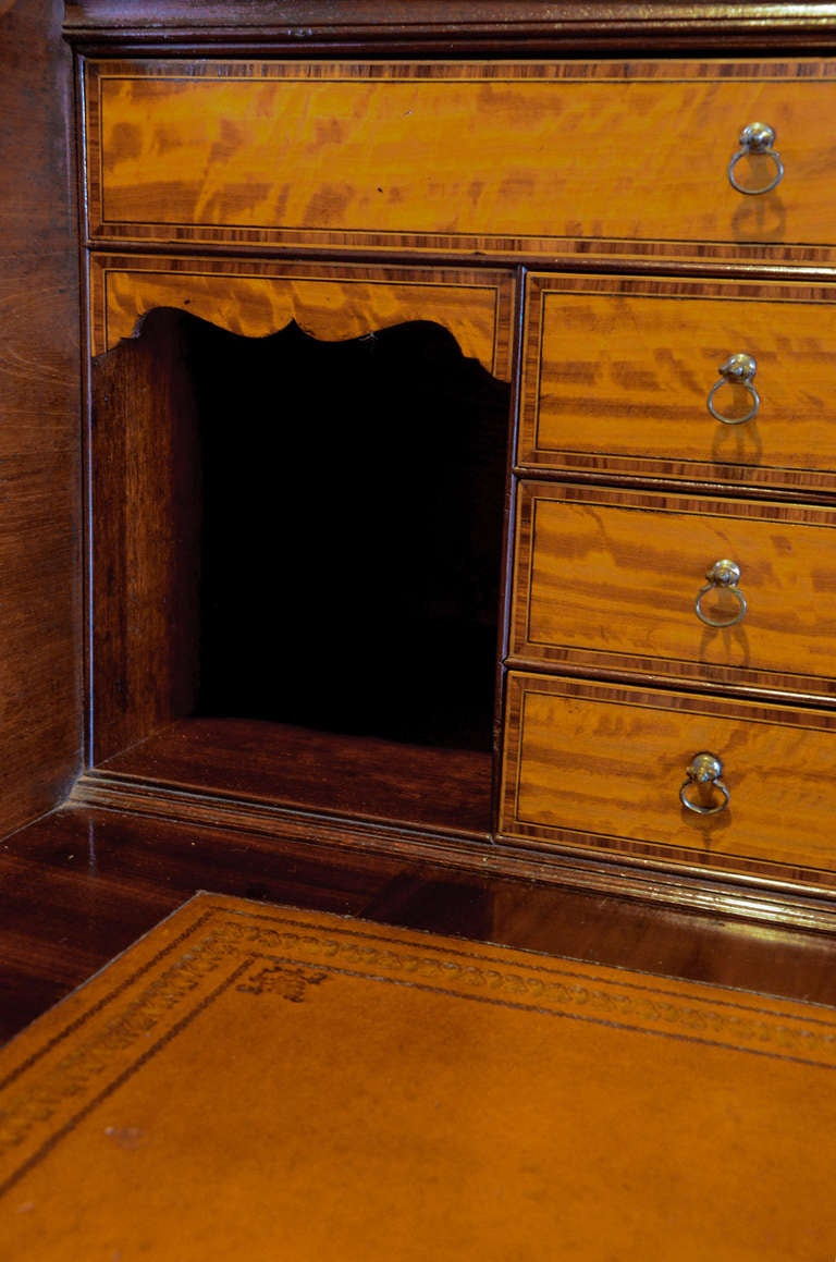 British George III period mahogany and satinwood secretaire bookcase with maker's mark. For Sale