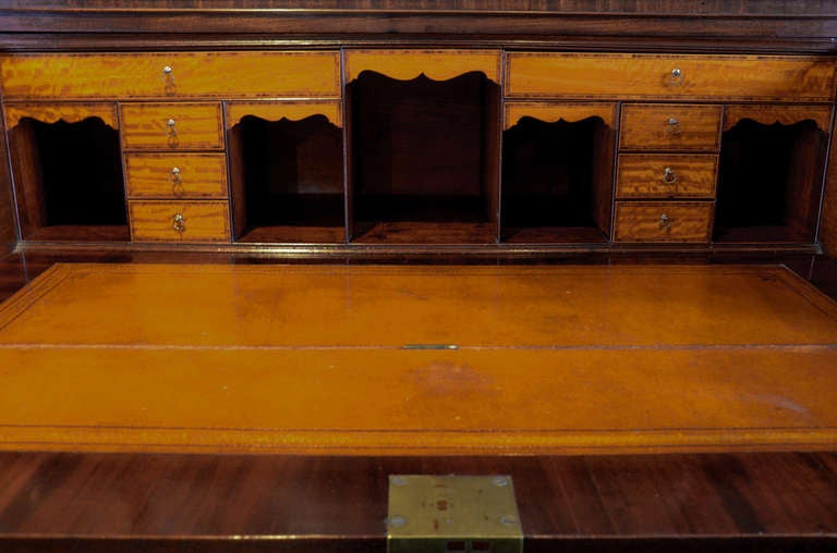 George III period mahogany and satinwood secretaire bookcase with maker's mark. In Excellent Condition For Sale In London, GB