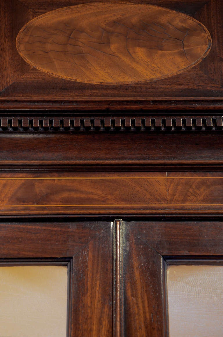 18th Century George III period mahogany and satinwood secretaire bookcase with maker's mark. For Sale