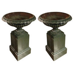 Pair of Mid-19th Century Green Painted Iron Garden Vases on Plinth Bases